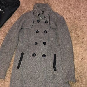 BCX Heather Grey pea coat with bottoms and pockets